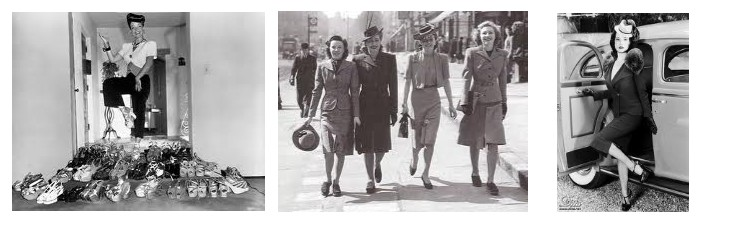 Carmen Miranda and her platforms, some lovely 1940's ladies off to work in their modern suits, and Dita Von Tease rocking the whole look today.