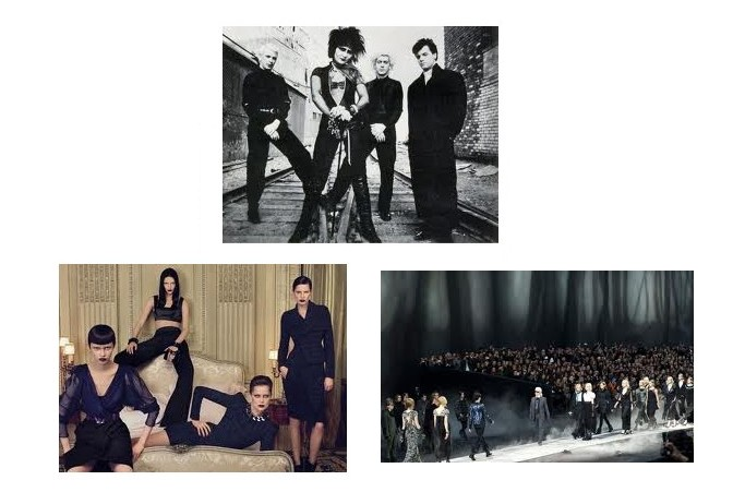 (Top) Siouxie and The Banshees circa 1980, compared to (Left) Givency 2009 and this shot of  the Chanel Runway 2011.