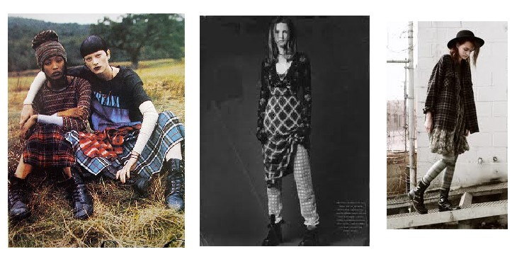 Marc Jacobs did grunge most famously (left) in Vogue 1992